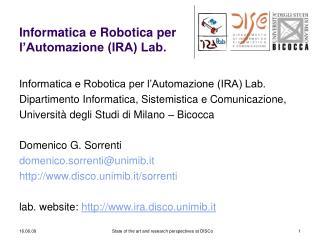 Informatica e Robotica per l'Automazione (IRA) Lab.