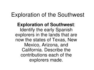 Exploration of the Southwest