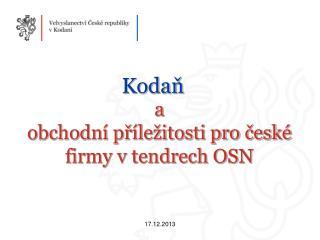 a  obchodní příležitosti pro české firmy v tendrech OSN