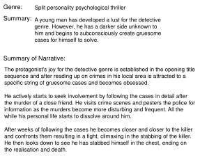 Split personality psychological thriller