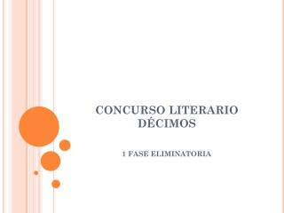 CONCURSO LITERARIO DÉCIMOS