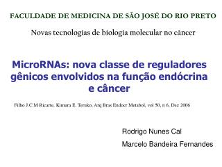 FACULDADE DE MEDICINA DE SÃO JOSÉ DO RIO PRETO Novas tecnologias de biologia molecular no câncer