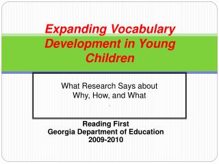 Expanding Vocabulary  Development in Young Children