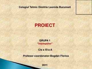 """Colegiul Tehnic Dimitrie Leonida Bucuresti PROIECT  GRUPA 1 """"înțelepților""""  Cls a XI-a  A"""