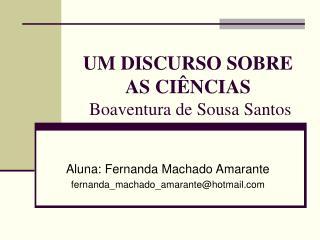 UM DISCURSO SOBRE AS CI�NCIAS  Boaventura de Sousa Santos