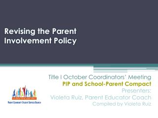 Revising the Parent Involvement Policy