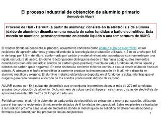 El proceso industrial de obtención de aluminio primario  (tomado de Aluar)