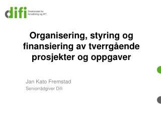 Organisering, styring og finansiering av tverrgående prosjekter og oppgaver