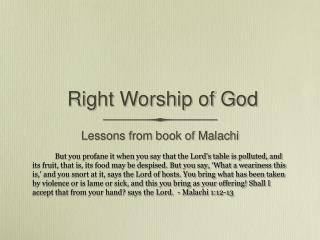 Right Worship of God