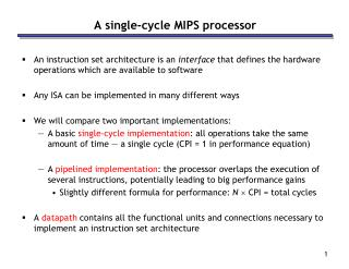 A single-cycle MIPS processor