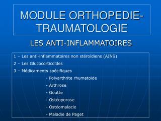 MODULE ORTHOPEDIE-TRAUMATOLOGIE