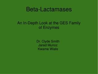 Beta-Lactamases