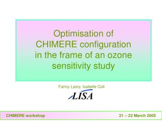 Optimisation of CHIMERE configuration in the frame of an ozone sensitivity study