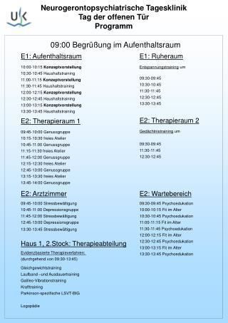 Neurogerontopsychiatrische Tagesklinik  Tag der offenen Tür Programm