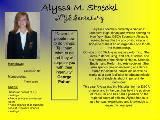 Alyssa M. Stoeckl NYS Secretary