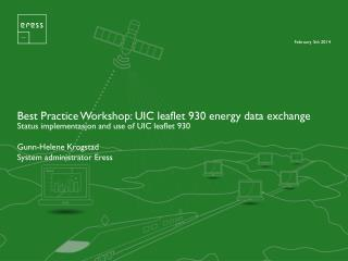 Best Practice Workshop: UIC leaflet 930 energy data exchange