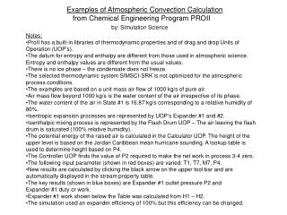 Examples of Atmospheric Convection Calculation    from Chemical Engineering Program PROII