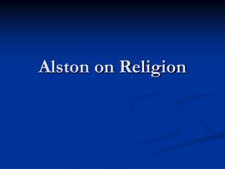 Alston on Religion
