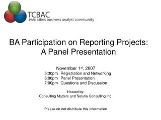 BA Participation on Reporting Projects:  A Panel Presentation