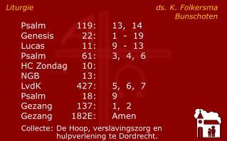 Liturgie ds. K. Folkersma Bunschoten