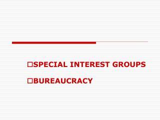 SPECIAL INTEREST GROUPS BUREAUCRACY