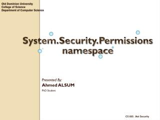 System.Security.Permissions  namespace