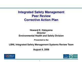 Integrated Safety Management  Peer Review  Corrective Action Plan