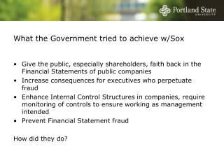 What the Government tried to achieve w/Sox