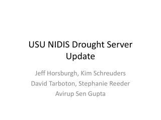 USU NIDIS Drought Server Update