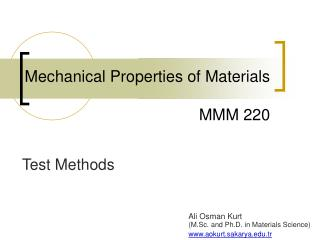 Mechanical Properties of Materials MM M 2 20