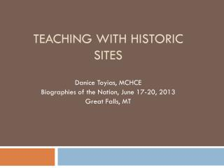 Teaching with historic sites