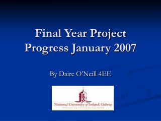 Final Year Project Progress January 2007