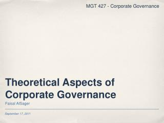 Theoretical Aspects of Corporate Governance