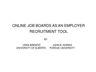 ONLINE JOB BOARDS AS AN EMPLOYER RECRUITMENT TOOL