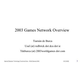 2003 Games Network Overview