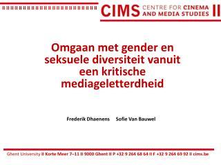 Omgaan  met gender en  seksuele diversiteit vanuit een kritische mediageletterdheid