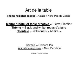 Art de la table  Thème régional imposé  =Alsace / Nord-Pas-de Calais