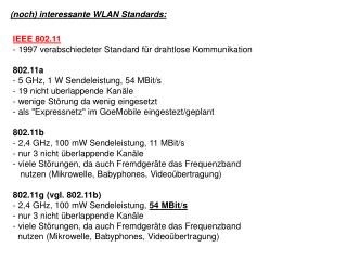 (noch) interessante WLAN Standards: