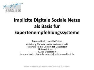 Implizite Digitale Soziale Netze  als  Basis für  Expertenempfehlungssysteme
