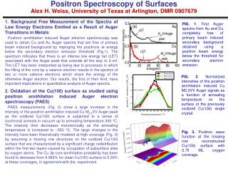 Positron Spectroscopy of Surfaces  Alex H. Weiss, University of Texas at Arlington, DMR 0907679