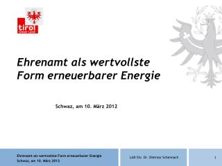 Ehrenamt als wertvollste Form erneuerbarer Energie