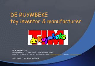 DE RUYMBEKE  toy inventor  manufacturer