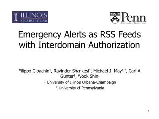 Emergency Alerts as RSS Feeds with Interdomain Authorization