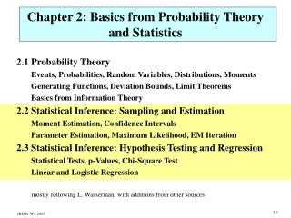 Chapter 2: Basics from Probability Theory and Statistics
