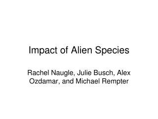 Impact of Alien Species