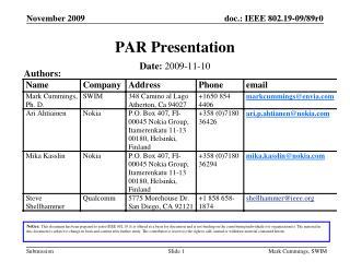 PAR Presentation