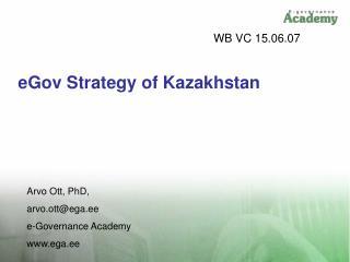 eGov Strategy of Kazakhstan