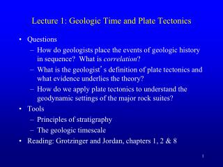 Lecture 1: Geologic Time and Plate Tectonics