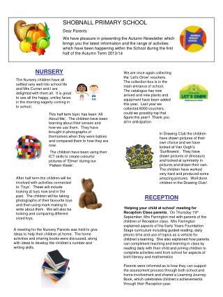 SHOBNALL PRIMARY SCHOOL Dear Parents