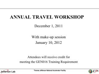 ANNUAL TRAVEL WORKSHOP